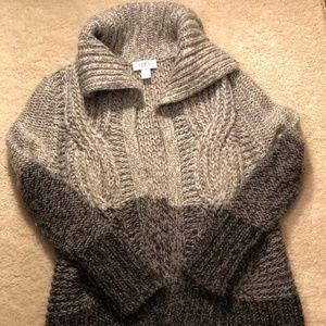 LOFT Chunky Open Front Wool Sweater Cardigan - SP